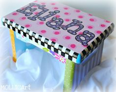 Painted Child's Stepping Stool by mollicart on Etsy Personalize with your own colors, name & design