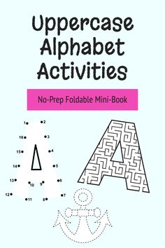 This is a no-prep uppercase alphabet printable that you can easily fold to make into a library of mini-books. There is 1 page per lowercase letter with 3 different activities:- numbered dot to dot to form the letter- tracing picture and word that begins with that letter- letter-shaped mazeGreat for homework, independent work and early/fast finishers. #alphabetactivities #foldablebook #uppercasealphabet #letteroftheweek