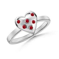 Angara.com: Round Ruby Heart Ring in 14k White Gold    #Angara