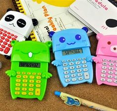 Animal Angels Sliding Calculator - $6.85  Take a trip to the clouds with an animal angel! Equipped with wings that will take you and your math grade sky high, this calculator makes math more enjoyable with its fun colors and humorous designs. This calculator features the basic functions needed. To get started with this cute calculator, simply press down on the right wing – the animal angel's head will pop up and the display will be at your use to solve math problems in no time!  - Product is…