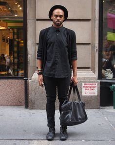 New York City Street Style by Ben Ferrari: Style: GQ  black cardigan  black shirt  black bag  black jeans  black shoes
