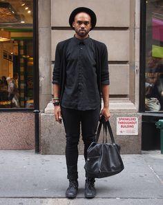 New York City Street Style by Ben Ferrari: Style: GQ  black cardigan  black shirt  black bag  black jeans  black shoes