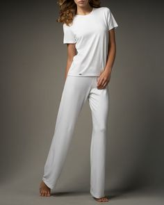 Tricot Short-Sleeve Top & Relaxed Pants, White by La Perla at Neiman Marcus.