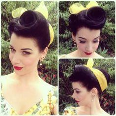 Vintage-Yellow-Sheer-Head-Scarve-Scarf-Bandana-Rockabilly-Pinup-clothing-girl