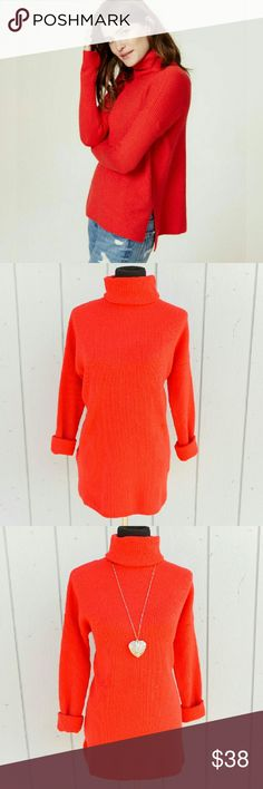 """Red Turtleneck Sweater Red turtleneck sweater  in a ribbed knit. Side slits, hi-lo hem. Nice stretch. Cotton/poly/nylon/wool/spandex blend. Soft and comfortable.  Size: Medium Measurements: Bust: 21""""  Waist: 20""""  Hip: 21""""  Length: front: 29""""/back: 32""""   Sleeve: 19""""  NO Trade / NO Paypal LOFT Sweaters Cowl & Turtlenecks"""