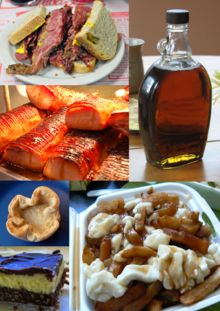 traditional Canadian foods: A small sampling of Canadian foods. Top to bottom, left to right: Montreal-style smoked meat, Maple syrup, Peameal bacon, Butter tart, Poutine, Nanaimo bar