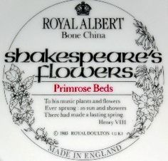Royal Albert - Shakespeare's Flowers - Collector Plates www.royalalbertpatterns.com Royal Albert, Shakespeare, The Collector, Plates, Personalized Items, Flowers, Licence Plates, Dishes, Griddles