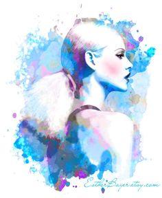 Violet Blue Drops- Watercolor Fashion Illustration Abstract Print. $32.50, via Etsy.