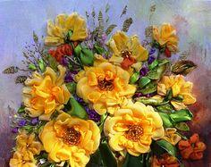 """""""çiçekli Vazo resim 3"""", İpek kurdele nakışı"""