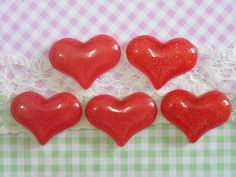 5 pcs Heart Cabochon Kawaii Glittery Red Heart by forestdiy