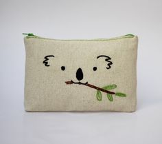 Koala hand embroidered makeup bag