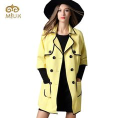 2016 Big Size 5XL 4XL 3XL Adjustable Waist Turn down Collar Double Breasted Fashion Yellow Trench Coat for Woman -in Trench from Women's Clothing & Accessories on Aliexpress.com | Alibaba Group
