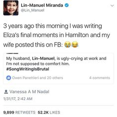 Lin-manuel-miranda ugly crying as he writes eliza's final moments