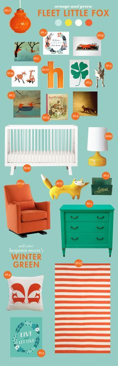 I really like this color combination! This website has such fun room inspiration for nurserys-that could be easily translated to 'grown-up' rooms as well!