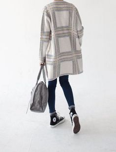 Le Fashion Blog Ways To Wear Black High Top Converse Sneakers Print Plaid Coat Balenciaga Bag Skinny Jeans Via La Cool Et Chic