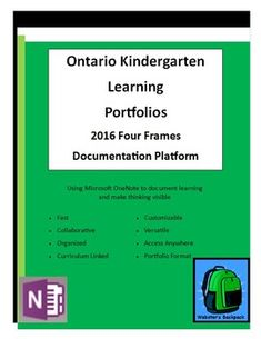 Ontario Kindergarten Four Frames Learning PortfolioTemplates Full Day Kindergarten, Kindergarten Curriculum, One Note Microsoft, Microsoft Office, School Tool, School Stuff, Report Comments, Inquiry Based Learning, Beginning Of Year