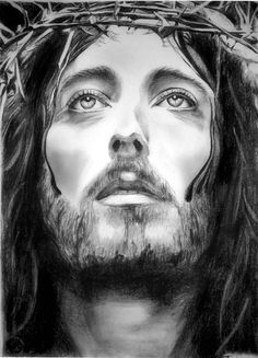 Jesus of Nazareth Drawing custom Jesus Christ charcoal Portrait Christian Art Baptism gift
