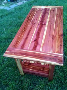 Cedar coffee table I made from cedar logs milled to lumber.