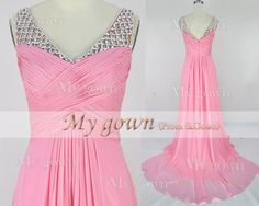 2014 Prom dress Straps Draped Beads Pink DressesProm by MyGown, $149.90