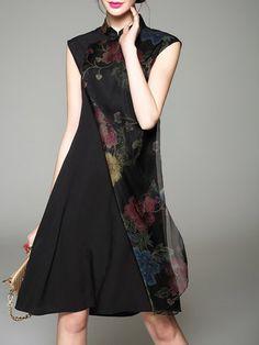 Black Vintage Printed Midi Dress