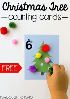 Free Christmas tree counting cards for the numbers 1 to 10. Such a fun preschool or kindergarten math activity.