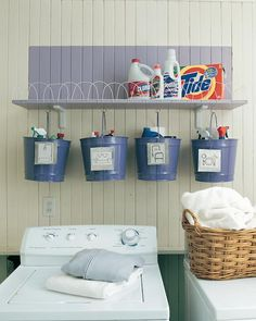"""How to create a real cleaning """"bucket list"""" for your laundry/cleaning room! :) A good way to get motivated to do chores"""