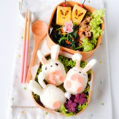Bunnies Bento for Mid Autumn Bento by #littlemissbento