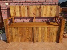 Pallet wood garden bench with storage room Garden Storage Bench, Bench With Storage, Storage Room, Pallet Wood, Wood Pallets, Garden In The Woods, Amy, Furniture, Home Decor
