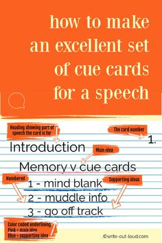 Lessen the fear of forgetting a speech by using effective note or cue cards. Step by step guidelines. Public Speaking Activities, Speaking Games, Public Speaking Tips, Speech Writing Tips, Writing Strategies, Cue Cards, Middle School Ela, Learn English, Esl
