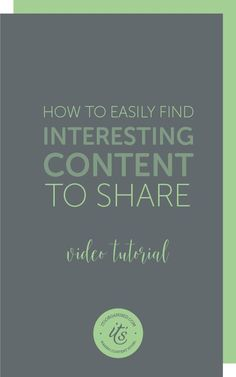Do you struggle to find interesting content to share on social media? Today, I'll show you how I use a feed reader to follow others in my profession and gather information I can share with my customers on social media. I find so much information, I can fill my social queues in next-to-no time with reading material to spare. itsorganised.com | video tutorial
