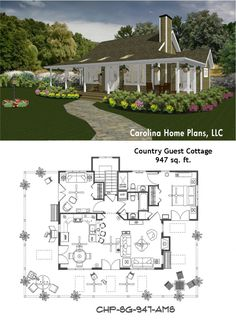 Small country cottage vacation or guest house plan
