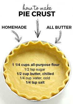 Homemade Pie Crusts, Pie Crust Recipes, Homemade Butter, Best Pie Crust Recipe, Pie Dough Recipe Easy, Pastry Crust Recipe, Homemade Pies, Homemade Snickers, Just Desserts