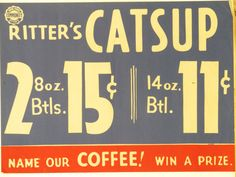 Original Vintage Ritter's Catsup Grocery Store Poster by HodesH