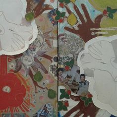 """Detail from the four seasons """"FRUKTIG"""" 80X60 cm : spring & fall Print, collages on canvas"""
