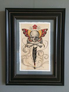 """11""""x14"""" Original, framed collaboration watercolor on Arches 300 lb. cold press, watercolor paper. My daughter Haley Gogue and I worked on this together, I did the original sketch and ink drawing, while she painted the rest."""