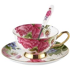 Touch Life Set di tazze da tè e caffè con piattino, in porcellana Bone China, con rose rosa, colori: bianco e rosa, Porcellana, Set of 1 with gift box, Set of 1 with gift box