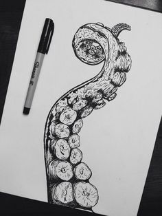 Octopus tentacle drawing - Octopus Tattoo & Garden Pot Design & DIY Bathroom & Hairstyle For School & Ideas DIY Jewelry Ink Drawings, Drawing Sketches, Tattoo Sketches, Tumblr Sketches, Sketching, Stylo Art, Art Du Croquis, Octopus Art, Octopus Drawing