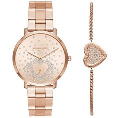 Michael Kors Rose Gold Womens Rose-Gold Watch And Bracelet Set -... (555 BAM) ❤ liked on Polyvore featuring jewelry, watches, rose gold, rose gold jewelry, pink gold jewelry, rose gold jewellery, party jewelry and red gold jewelry