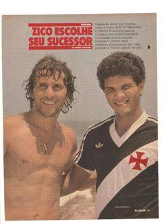 Zico e Geovani, apresentado como sucessor do Galinho de Quintino, na Revista Placar, nos anos 80