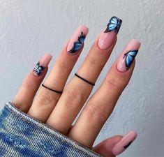 Summer Acrylic Nails, Best Acrylic Nails, Spring Nails, Summer Nails, Butterfly Nail Designs, Butterfly Nail Art, Nail Designs Spring, Blue Butterfly, Chic Nails