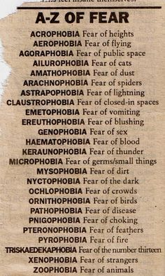 A-Z of Fear // Mythology of Blue: Archive.I must confess to a few of these phobias.claustrophobia, (biggest one), acrophobia, and aerophobia. Unusual Words, Weird Words, Rare Words, Unique Words, New Words, Cool Words, Types Of Phobias, List Of Phobias, Common Phobias