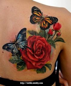 Rose and Butterfly Tattoo Design Picture