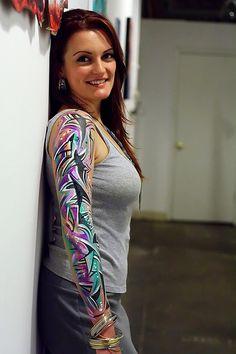 Women Half Sleeve Tattoos › Amazing Tattoos Fashion Sleeves Tattoo Design For Girls