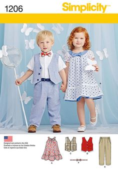 Simplicity Pattern 1206A 1/2-1-2-3--Toddlers
