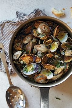 This garlicky wine-sauced shellfish dish is served at The Stinking Rose, a garlic-themed restaurant in San Francisco.