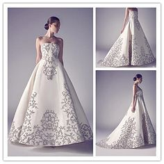 Sexy Backless Vintage Ball Gown Gothic Wedding Dress 2015 Maternity Embroidery Luxury Ivory Satin Wedding Gowns Bridal Dresses