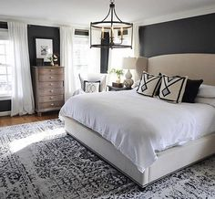I love how cozy this room is. They do a great job balancing the dark walls with neutral furniture and textiles