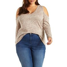 Charlotte Russe Plus Size Taupe Ribbed Cold Shoulder V-Neck Top by... ($27) ❤ liked on Polyvore featuring plus size fashion, plus size clothing, plus size tops, plus size sweaters, taupe, ribbed knit sweater, blue sweater, cut out shoulder sweater, long sweaters and deep v neck sweater