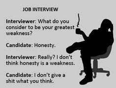 Honesty. #honesty, #interview, #humor, #weakness