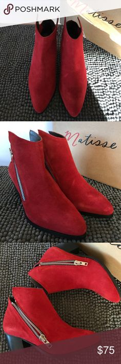 """Matisse Sz 8 Red Leather Asymmetrical Ankle Boots Matisse Sz 8 Red Leather Asymmetrical Ankle Boots Approximate heel height: 2.5"""" Shaft measures approximately 3.5"""" from arch Material: Regular Suede upper and man-made outsole   The Matisse Frankie boots feature a Suede upper with a pointed toe and a cute chunky stacked heel for a boost in height and some stability.   Red means stop but these babies are ready to go! See pictures for details. Ask questions before purchase. Matisse Shoes Ankle…"""